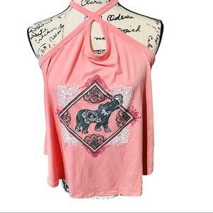 Elephant pink tank top keyhole back crisscross